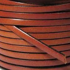 5x2mm flat licorice leather cord tan with black edge euro flat leather