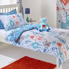 riva paoletti kids robot reversible duvet cover set blue single