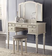 vanity table. Christine Silver Makeup Dressing Table Set | Chic Transitional Style Vanity