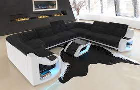 Details About Fabric Sectional Sofa Columbia U Shape Designer Couch With Led Light