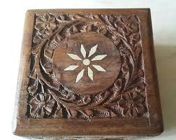 6 of 11 small vintage wooden hand crafted fl design jewellery trinket storage box