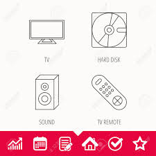 Sound Tv Remote And Hard Disk Icons Widescreen Tv Linear Sign