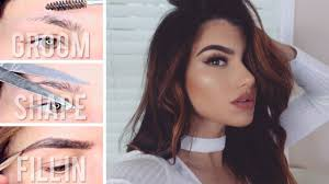 how to groom shape trim fill in eyebrows perfect eyebrow tutorial glam