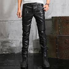 man black knee patches quilted long leather pants men biker trousers size 28 to 38 fashion