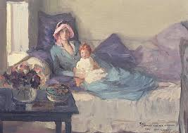 mother and child painting mrs winston churchill with her daughter sarah by sir john lavery