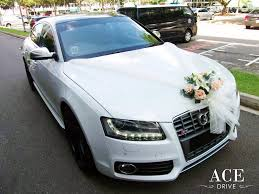 Wedding Car Decorate White Audi S5 Wedding Car Decorations By Ace Drive Car Rental