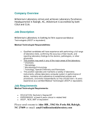 Resume For Laboratory Technician Medical Technologist Objective ...