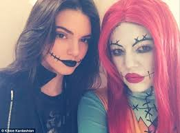 makeup scary fun khloe kardashian went as sally from the nightmare before and sister kendall