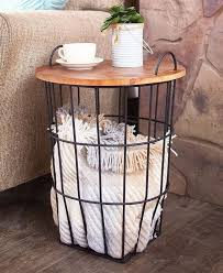 side table with storage wooden top