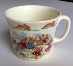 on mug bunnykins royal doulton english fine bone china baby gift christening gift child keepsake bunnies playing in snow vine