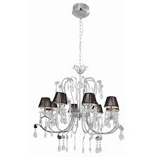 chrome crystal chandelier with black string shades incl 8 x g4 20w