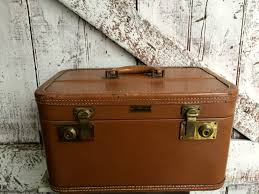Vintage Train case tan brown leather hard shell case by Wings United Luggage  NY Cosmetic Case