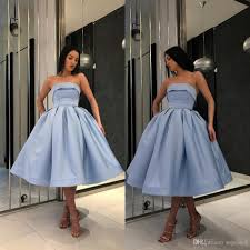 Short Formal Light Blue Dress 2019 Hot Light Blue Short Prom Dresses For Girls Simple Under 100 Formal Gowns Strapless Satin Ball Gown Party Homecoming Cocktail Dress Sequin Prom