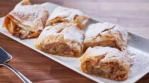 Flaky Apple Strudel With Raisins Walnuts Cinnamon And Icing Sugar