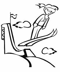 Kleurplaat Skischansspringen Thema Springen