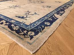 antique chinese blue white rug 1870s 6