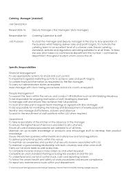 Catering Manager Resume Formal Assistant And Specific
