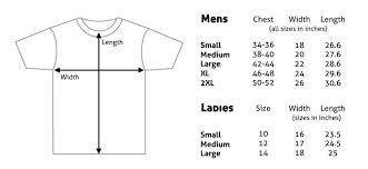 Small T Shirt Size Chart Size Chart