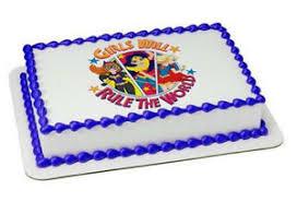 superhero sheet cake super hero girls rule dc image cake topper frosting sheet 20966 ebay