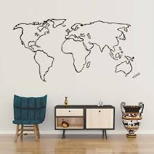 dctop large world map vinyl wall sticker for living room adhesive removable outline decals jpg 640