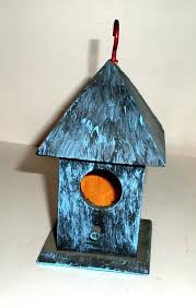 small wood birdhouse blue painted by decorative birdhouses for indoor