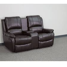 allure series 2 seat reclining pillow back brown leather theater seating unit with cup holders bt 70295 2 brn gg