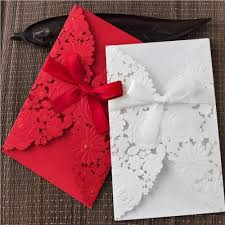 Red Wedding Card Design Us 51 2 50pcs Lot Laser Cut Wedding Invitations White And Red Wedding Invitation Card Simple Design Greeting Card Party Supplies In Cards
