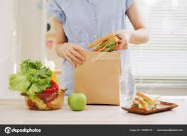 school lunch table. Mother Preparing Sandwich School Lunch Table \u2014 Stock Photo A