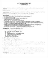 Cna Job Description Resume Impressive Cna Duties Nursing Home Resume For Template Free Teamwork Job Sample