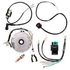 motorcycle universal dirt pit bike cdi spark plug switch magneto wire harness kit 50 125cc