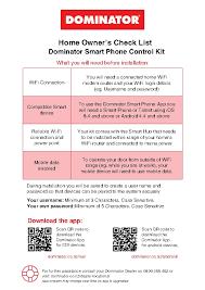 the dominator smart phone control kit checklist