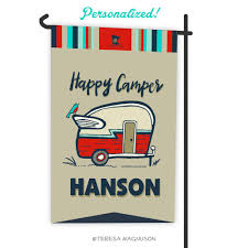 camping garden flag. Wonderful Camping Custom Camping Flag  Happy Camper Vintage Red Garden Flag Personalized On