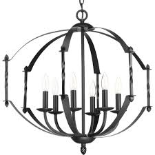 progress lighting greyson collection 6 light black chandelier