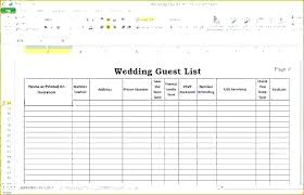 Birthday Guest List Excel Template Wedding Reception