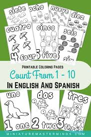 Coloring pages are learning activity for kids, this website have coloring pictures for print and color. Printable Coloring Pages Counting 1 10 In English And Spanish Miniature Masterminds