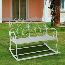 seater metal bench garden patio lawn