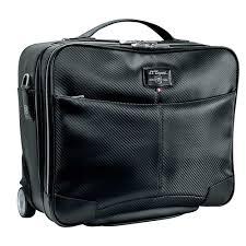 st dupont defi black carbon leather wheeled laptop doent holder bag