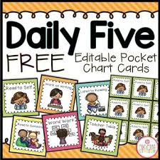 Daily 5 Pocket Chart Cards Daily Five Class Management System Brights Classroom Decor