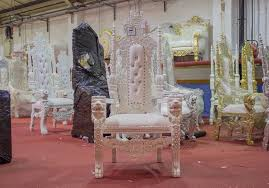 2 x new white lion king queen throne chairs wedding luxury hand made french italian furniture