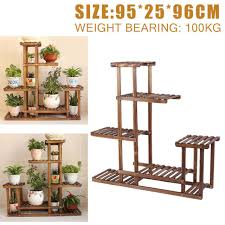 5 tiers wooden plant pot stand flower display shelf garden patio indoor outdoor