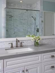 gray bathroom with white cabinets. bathroom with grey countertop. countertop ideas. #bathroom # gray white cabinets y