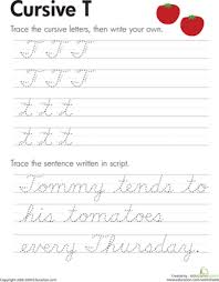 cursive word practice cursive t worksheet education com