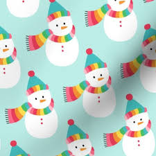 Fabric By The Yard Snowmen Lg Colorful Christmas