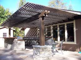 this wooden back patio covered trellis