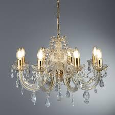 Kronleuchter Gold Messing Kristalltropfen 8 Kerzen