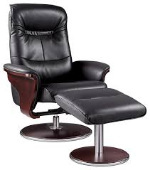 milano leather swivel recliner and ottoman black
