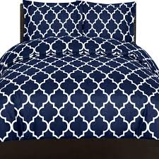 details about printed duvet cover set utopia bedding queen size navy color wrinkle resistant
