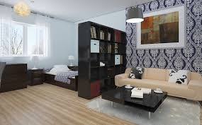 looking for a studio apartment. Unique For Good Looking Studio Apartment Ideas Featuring Cool Wallpaper Design  Together With Dark Brown Finish Cherry Wood Divider Room And Glossy Square Coffee  Throughout For A E