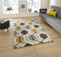 Living Room Carpets Rugs Details About Hong Kong Grey Yellow Mustard Ochre Geometric Geo