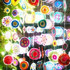 Fensterdekoration Wasserfarben Kreise Punkte Mobiles
